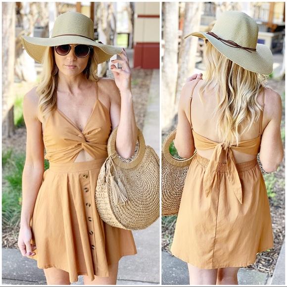 Infinity Raine Dresses & Skirts - Camel cut out dress